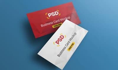 Free Floating Business Card Mockup PSD Design For Branding