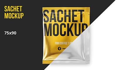 Coffee Sachet Ketchup Shampoo pouch packaging mockup 3572959