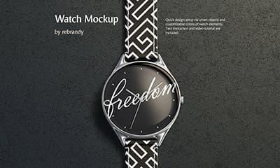Free Wrist Watch Mockup Template